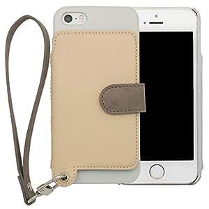 <iPhone 5/5s/SE用> RAKUNI (ラクニ) 本革 背面ポケット型ケース/前面むきだし/ストラップ付き/スタンド機能/財布がわりに (バニラ)