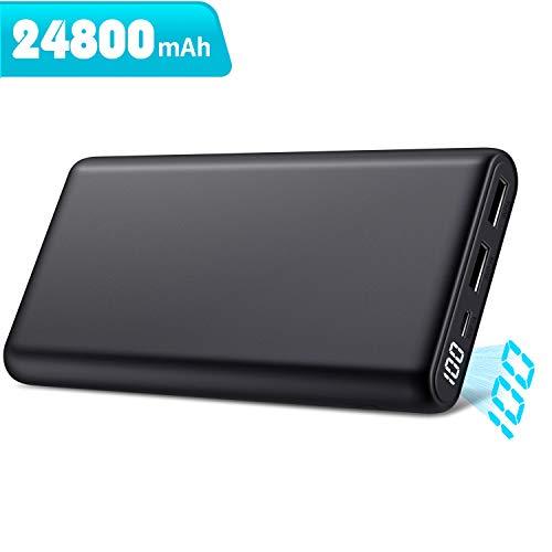 モバイルバッテリー 大容量 【最新版24800mAh LCD数字残量表示】 薄型 小型 急速充電 2USB出力ポート 携帯...
