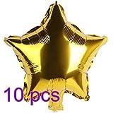 Noloo アルミ星型 バルーン 誕生日 飾る パーティー ウエディング 10枚セットパーティー 装飾 風船、バースデー 飾り