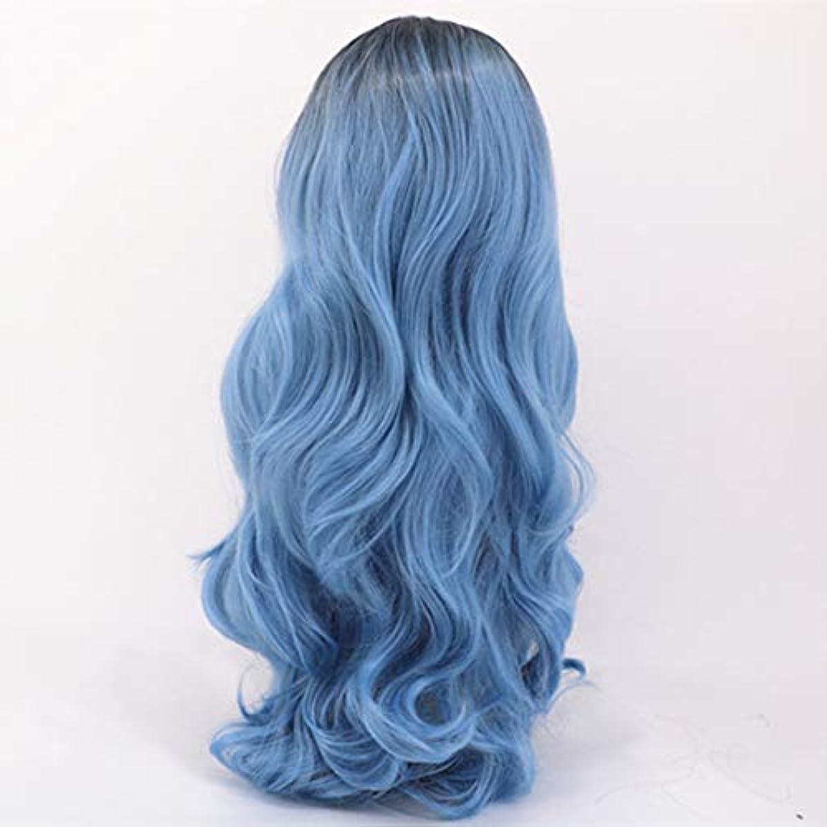 額リスみなさん女性のためのロングストレートヘアウィッグブルー気質フェイスハイエンドかつら自然に見える耐熱合成ファッションかつら