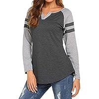 Locryz Women's Raglan Long Sleeve T-Shirt Loose Blouse Henley V Neck Baseball Tee Shirt Tops
