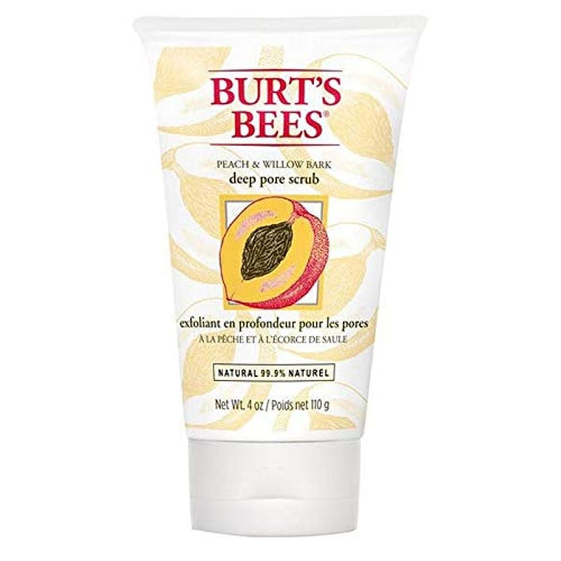 高めるなので空気[Burt's Bees] バーツビーの桃とWillowbark深いポアスクラブ110グラム - Burt's Bees Peach and Willowbark Deep Pore Scrub 110g [並行輸入品]