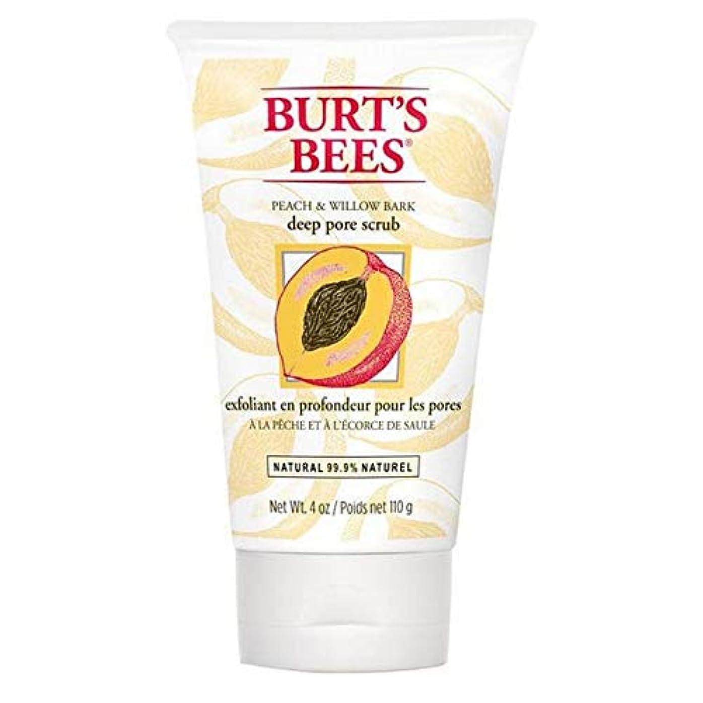中性驚かす中古[Burt's Bees] バーツビーの桃とWillowbark深いポアスクラブ110グラム - Burt's Bees Peach and Willowbark Deep Pore Scrub 110g [並行輸入品]