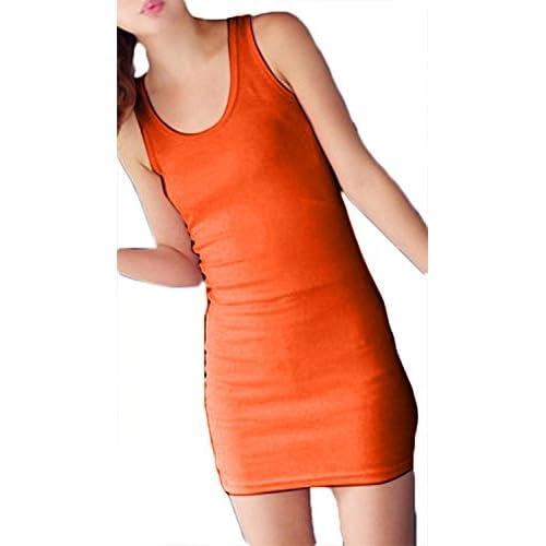 Plus Nao(プラスナオ) ミニワンピース  ノースリーブ ラウンドネック オーバルネック タイト ショート丈 カジュアルスタイル シン - オレンジ