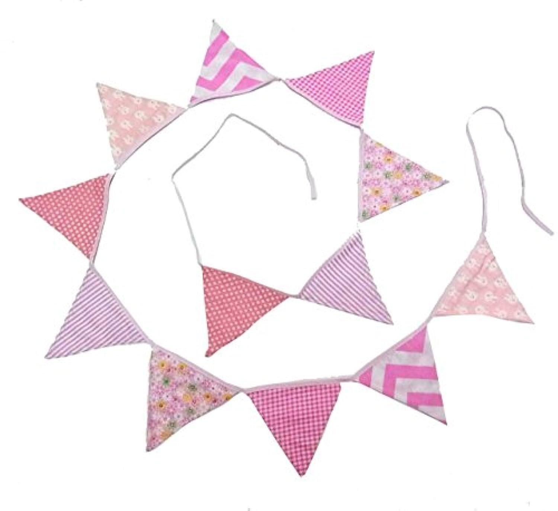 Sasuga 三角 バナー フラッグ ガーランド [ 布製 ] 誕生日 パーティー ガーデンウエディング 盛り上げ 演出 お部屋 飾りに (ピンク系)