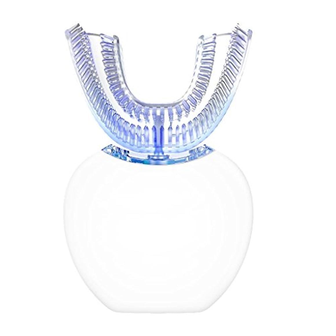 うめき声全体デイジー自動電動歯ブラシ、怠惰な人向けに設計されたNatood 360度自動歯ブラシ、ブルーレイホワイトニング機能とマッサージ機能付き , white
