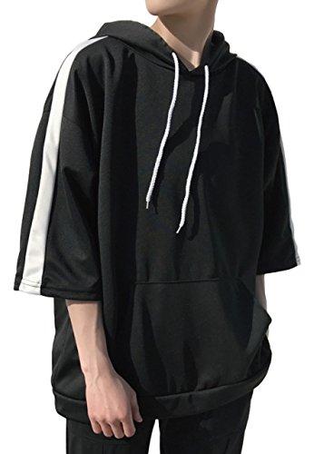 [Bolso] #3 (M, ブラック) ぱーかー パーカー パーカ メンズ メンズ 男の子 マウンテン しちぶそで しちぶ袖 7ぶそで 7部袖 しちぶたけ しちぶ丈 七分袖 7部丈 7分 7分丈 七分丈 五分袖 5分袖 さらさら サラサラ 薄手 薄い カッコいい おしゃれ オシャレ お洒落 ストリート系 韓国風 オルチャン ラフ ゆるい ダボダボ ビッグ ビックシルエット ビッグシルエット
