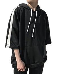 [Bolso] パーカー 7分袖 ビッグシルエット メンズ 3色展開 (黒、白、青) M ~ XXL