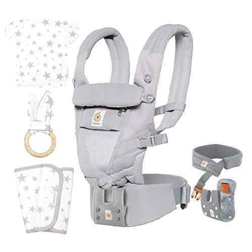 エルゴベビー(Ergobaby) 抱っこひも[ヘッドサポート、よだれカバー、うさみみ(歯固め)付]おんぶ可 [日本正規品保証付] 3Dエアーメッシュ (洗濯機で洗える) 軽量 ベビーキャリア アダプト/クールエア ADAPT/グレー CREGBCPEAPGREY