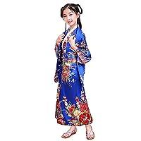 Kids Japanese Geisha Costume Girl Deluxe Blossom Kimono Yukata Robe with OBI Belt Party Halloween Fancy Dress