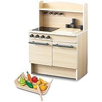RiZKiZ おままごとキッチン おもちゃ 幅55cmx奥行き35cmx高さ80cm 木製 収納付き 安心安全設計 子供用 組立式 (野菜?果物セット付き, ナチュラル)