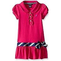 Nautica Toddler Girls' Pique Dress with Offset Stripe Skirt and Flat Knit Collar