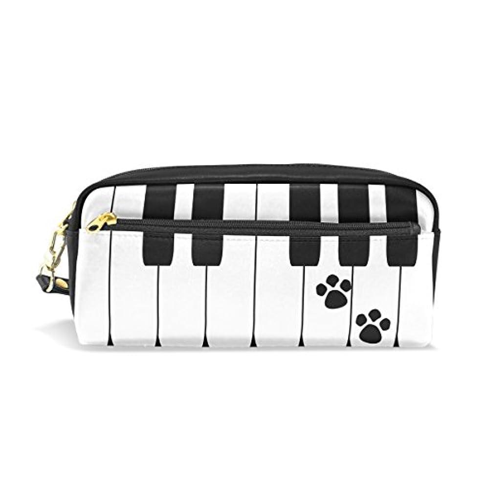 スクラップブックプランテーション遅れAOMOKI ペンケース 化粧ポーチ 小物入り 多機能バッグ レディース メンズ 猫 足跡 ピアノ