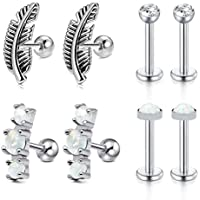 Zolure 16 Gauge 4 Pairs Stainless Steel Cartilage Stud Earring Forward Helix Earring for Women Girls CZ Opal Tragus Daith Piercing Jewelry Set
