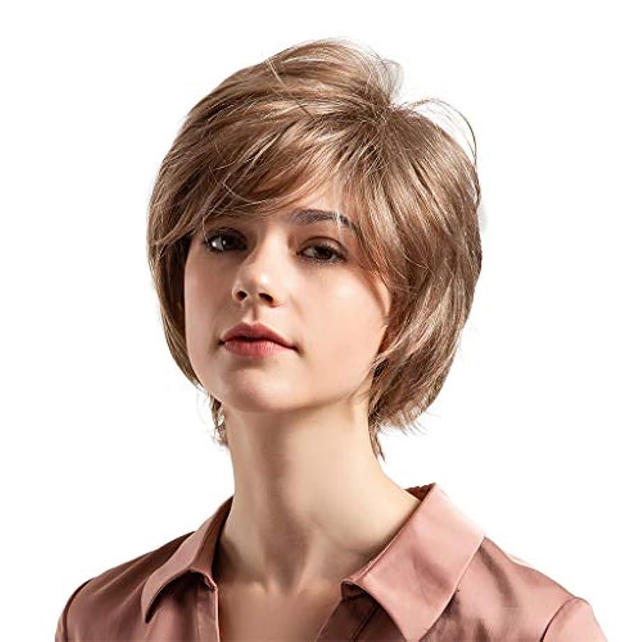 鉱石クルーズ哀薄茶色の混合色の自然な巻き毛の短い髪の かつら
