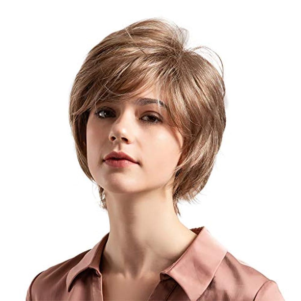 手順不適当大宇宙薄茶色の混合色の自然な巻き毛の短い髪の かつら