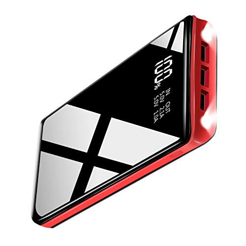 モバイルバッテリー 26800MAh大容量 PSE認証済 持ち運び充電器 2つLEDライト付き3つデバイス同時に充電でき 鏡仕上げ高級感なデザイン 地震/出張/停電/アウトドアなど大活躍