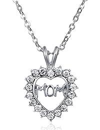 【ノーブランド品】古典的な クリスタルハート Momレター ペンダント ネックレス 母の日 宝石類のギフト