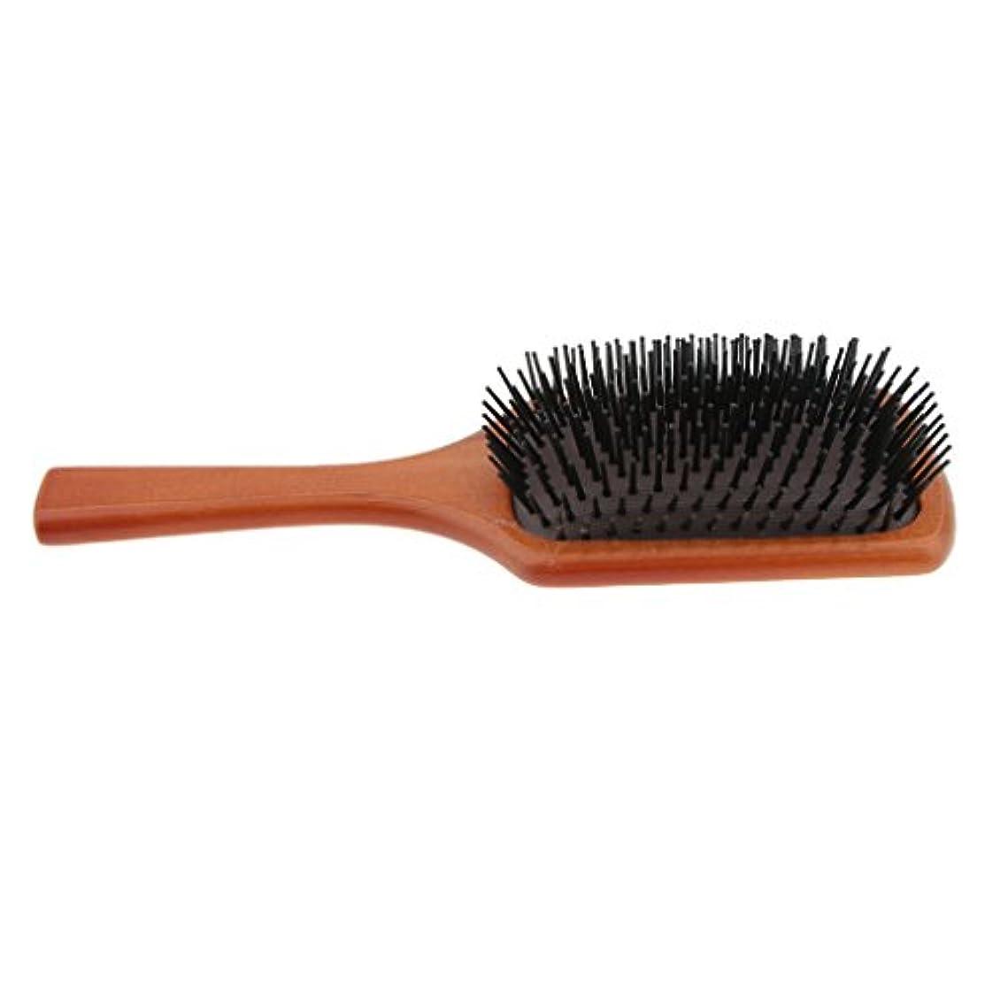 ジム財団しなやかなヘアブラシ 木製櫛 ヘアコーム ヘアダイコーム 頭皮 マッサージ ツール 帯電防止