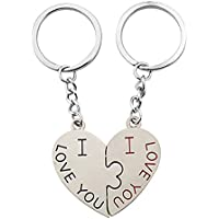 Couple Keychain Set with I Love You for Wedding, Birthday, Anniversary 2 Pieces