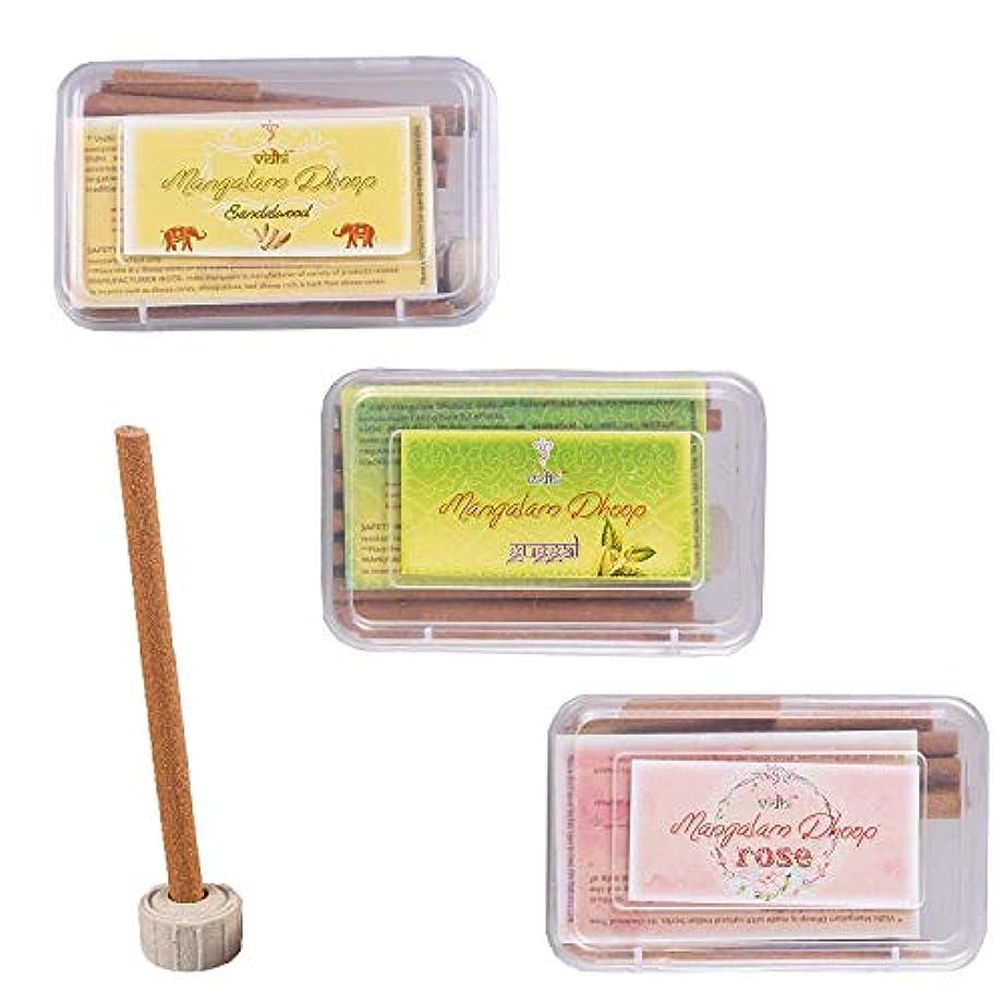 ほんの機知に富んだへこみVidhi Mangalam Dhoop Sticks Pack/Boxes (Guggal, Rose and Sandalwood) - Pack of 120 Dhoop Sticks (Natural Dhoop...