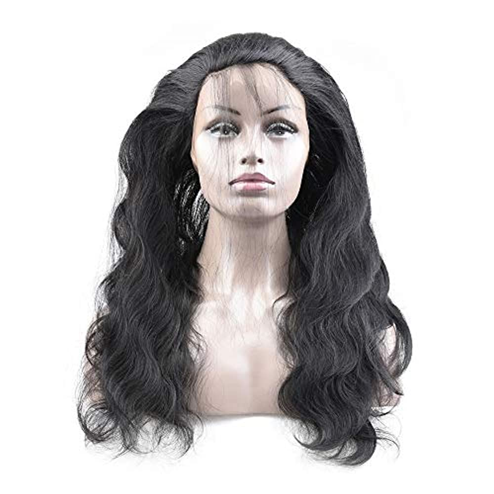 無関心模倣凍結WASAIO レースフロントウィッグヘアラインレースフロント人間の髪の毛のかつら実体波髪のかつら (色 : 黒, サイズ : 16 inch)