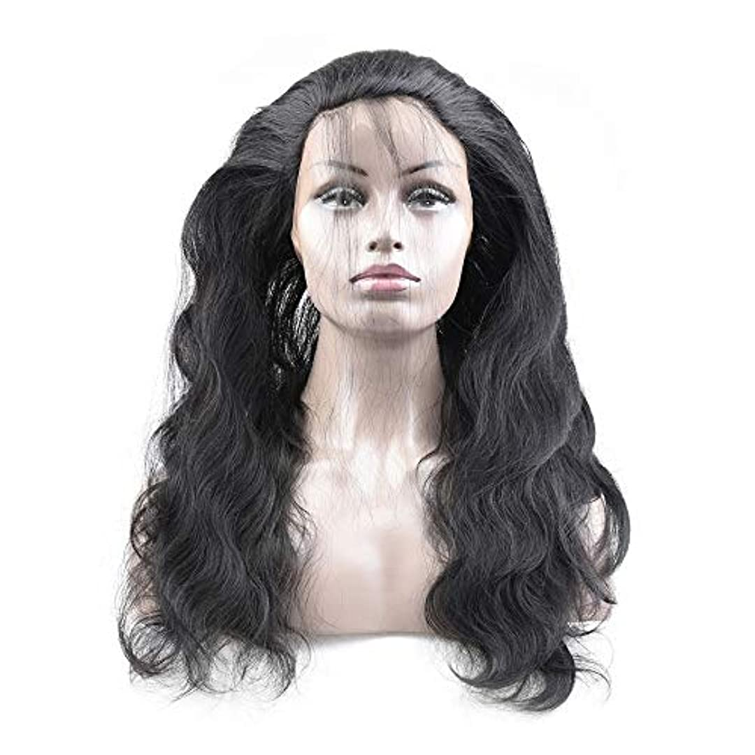 発生する有名人削るWASAIO レースフロントウィッグヘアラインレースフロント人間の髪の毛のかつら実体波髪のかつら (色 : 黒, サイズ : 16 inch)