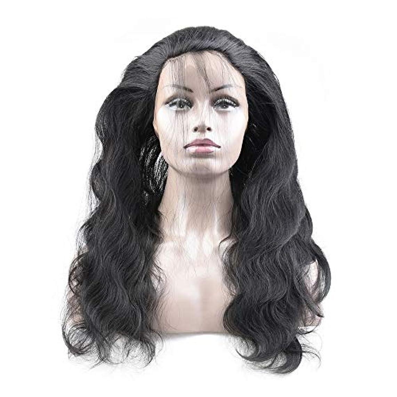 毛細血管ブッシュ断片WASAIO レースフロントウィッグヘアラインレースフロント人間の髪の毛のかつら実体波髪のかつら (色 : 黒, サイズ : 16 inch)