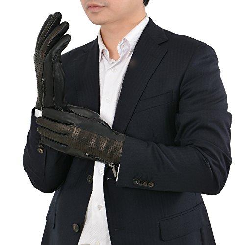 【GSG】革手袋 メンズ 羊革 レザー グローブ 本革 防寒 紳士 スマホ対応 高級手袋 かっこいい バイク用 冬 蛇柄 おしゃれ 秋 保温 運転用 バイク 16497/170603【セール中】