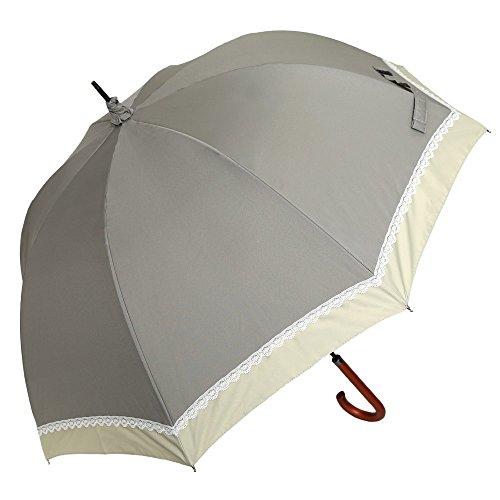 日傘 完全遮光 遮熱 かわず張り 特殊2重張り製法 バイカラー レース 女性用日傘 長日傘 (グレー×グリーング...