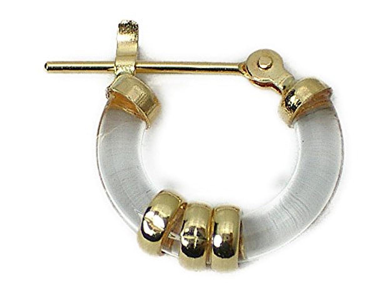 天気スペース気球J-Jewelry メンズピアス?片耳用?K18?本水晶?メンズ?15mm?フープピアス