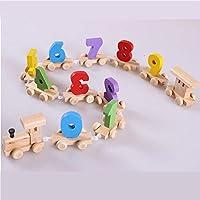 Zhenyu ベビーソフト木製トレインフィギュア モデルトイ 数字パターン0~9ブロック 教育的 子供 木製 おもちゃ 子供へのギフト