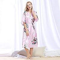 72e6bac305 Comfortable Peacock Robe Bathrobe Sexy Cardigan Simulation Silk Pajamas  Ladies Summer Large Size Home Service (