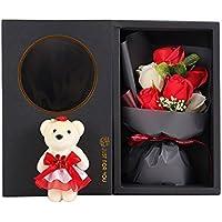 Arbeflo 造花 バラ 可愛い熊の人形付け 結婚花束 プレゼント ギフト 贈り物 お誕生日 告白 母の日 結婚祝い 出産祝い (レッド)