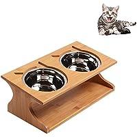 Petacc 猫 食器 木製 スタンド 小型犬 えさ皿 食事 猫用フード 水 ステンレス ボウル (35*17.5*12cm)