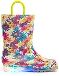 [MOFEVER] キッズ レインブーツ レイン子供用 長靴 光る靴 ハンドル レインブーツ キッズ ジュニア 男の子 女の子 雨靴 おしゃれ レインシューズ 滑り止め レインブーツ 長靴 防水 軽量 梅雨対策