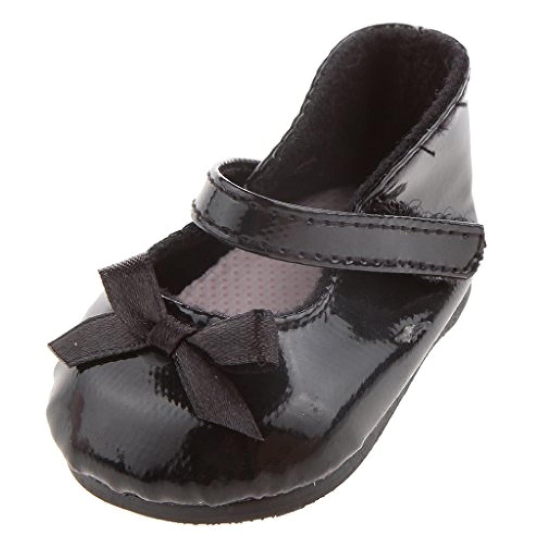 ノーブランド品 2足 18インチ ミニ靴 アメリカガール人形用 蝶結び シューズ 全2色選べ プレゼント - 黒