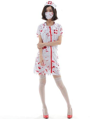 N-hilfe ゾンビ ナース コスプレ レディ―ス 半袖 血まみれ 衣装 ハロウィン 看護師 (M)