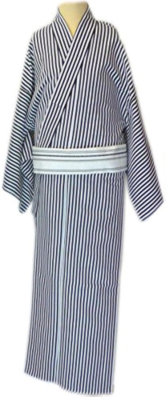 男物仕立上 小紋 単衣仕立  黒白縞柄 縞巾5mm 着丈3尺8寸6分 大きいサイズ