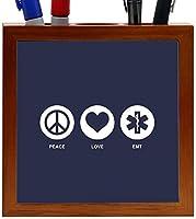 Rikki Knight Peace Love EMT Blue Color Design 5-Inch Tile Wooden Tile Pen Holder (RK-PH42073) [並行輸入品]