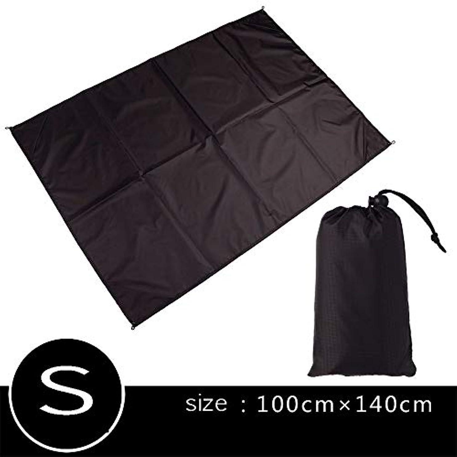 メッセージ潮メタリックソリッドカラーのシンプルさ折りたたみ式砂防止毛布、大きくてコンパクトな砂フリーマットクイックドライ、軽量&丈夫 (色 : ブラック, サイズ : S)
