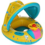 TANGON Baby Swimming Pool Float with Canopy Inflatable Infant Swim Ring Seat Float Boat with Sun Canopy Swim Party Toy Summer Lounge Raft Floating Fun Beach Pool Toys 141[並行輸入]