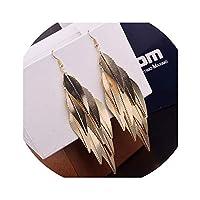 新しいインドバロックヴィンテージ多層葉ドロップロングイヤリング柳フリンジファッションジュエリーロングイヤリング用女性,Gold