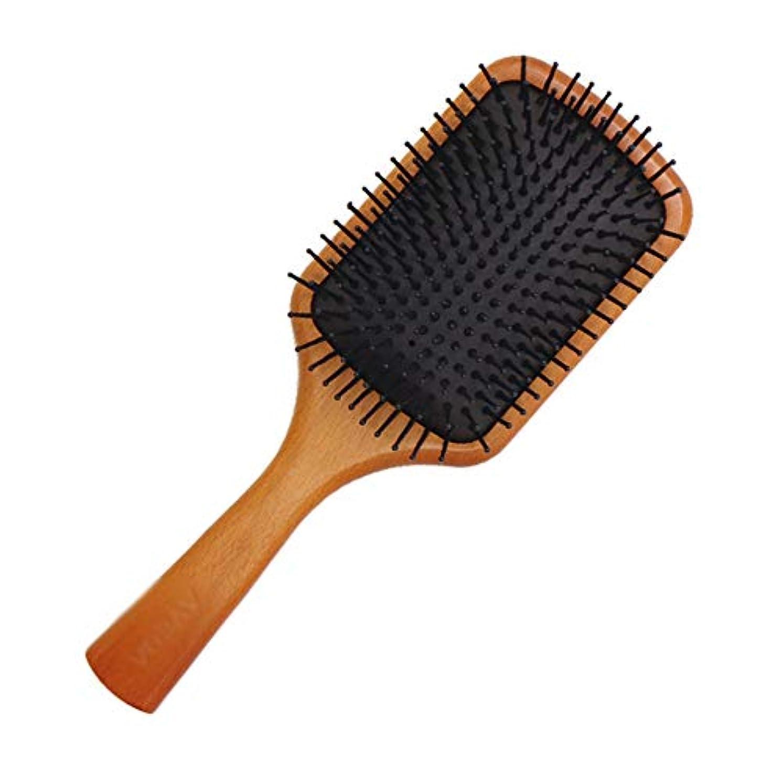 言語主観的エンジニアリングヘアブラシ- 木製櫛 髪をなめらかにする ヘアケア 静電気防止脱毛防止頭皮の圧迫軽減 男性と女性への適用頭皮ヘアケア美髪ケア握りやすい 人間工学