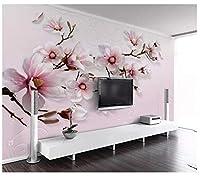 Mingld カスタムピンクのユリの花の写真の壁紙3D壁画リビングルームの寝室のテレビの背景写真壁画絵画ウォールペーパー-250X175Cm