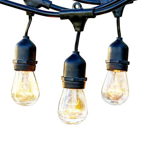 BRTLX ストリングライト 防雨型 15m 15個ソケット 18個フィラメント電球付き イルミネーションライト クリスマス ハロウィン 飾り 連結可能 誕生日パーティー電飾(ストリングライト)