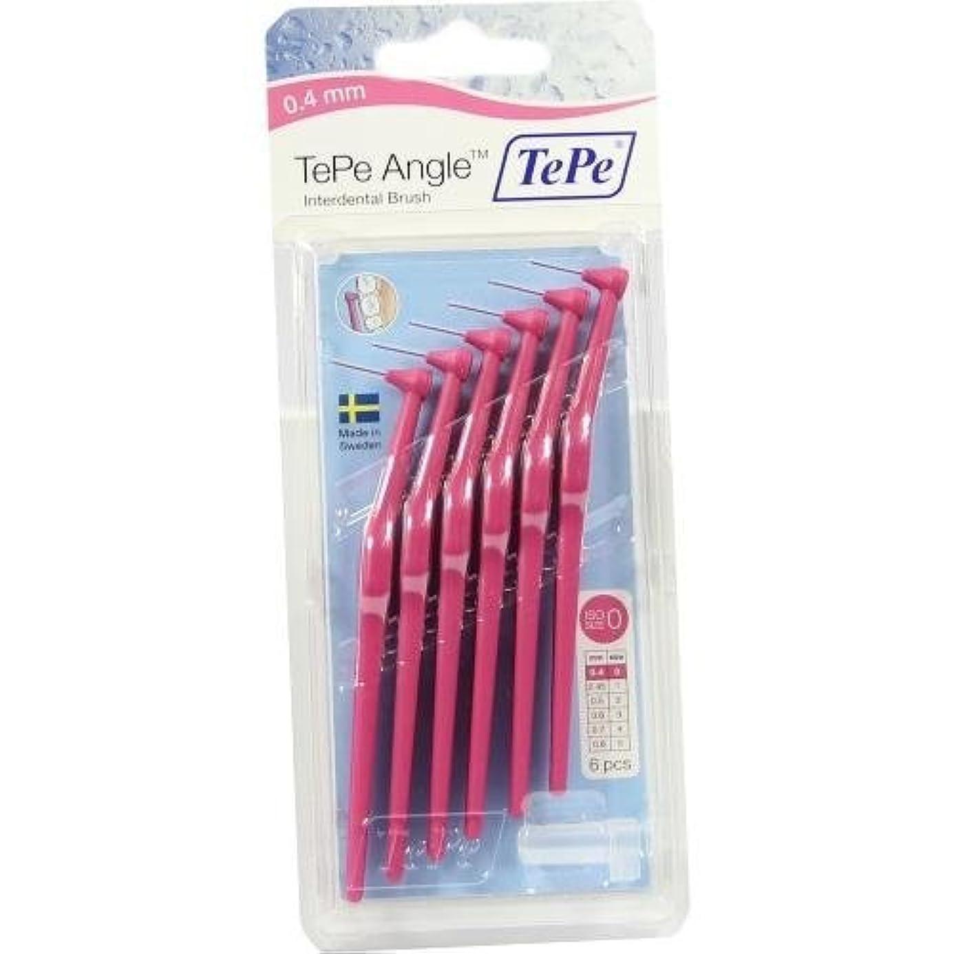 冒険者モード紳士気取りの、きざなTePe Angle Interdental Brushes 0.4 mm Pink Pack of 6 by TePe [並行輸入品]
