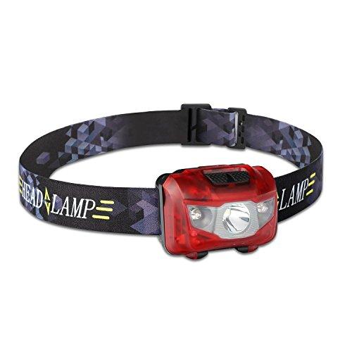 Nikatto ヘッドライト ヘッドランプ+多機能収納ボックス 5つモード 赤色付き IPX6防水 単4電池式 小型 軽量 登山用 星空撮影 (レッド/一個セット)