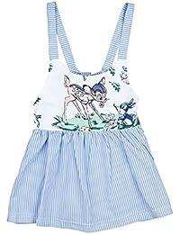 Liebeye ドレス 女の子 子供 幼児 ベビー 鹿 袖なし ブレース 縞模様 スカート ギフト ホワイトとブルー 夏 かわいい