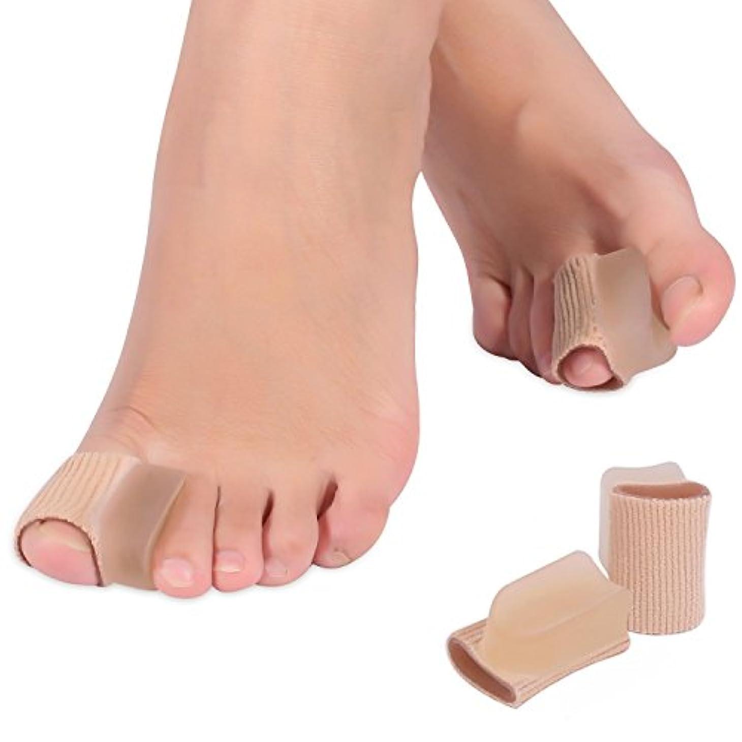高揚した仕事に行く消毒する親指ジェルパッド 足指分離パッド 足指スペーサー 足指矯正 ソフトなジェル製 伸縮 柔軟 足指保護 親指ケア 肌色「4個セット」